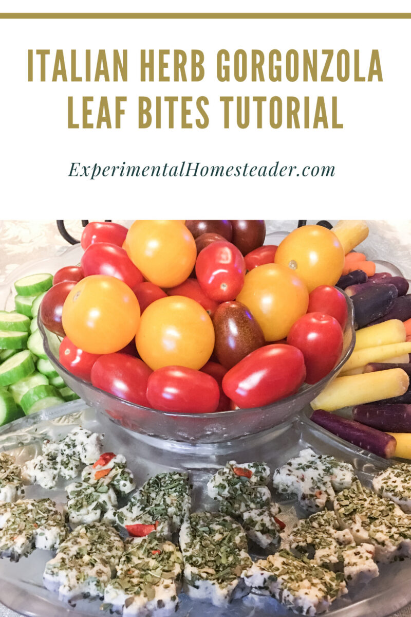 Italian Herb Gorgonzola Leaf Bites with tomatoes and fresh vegetables.