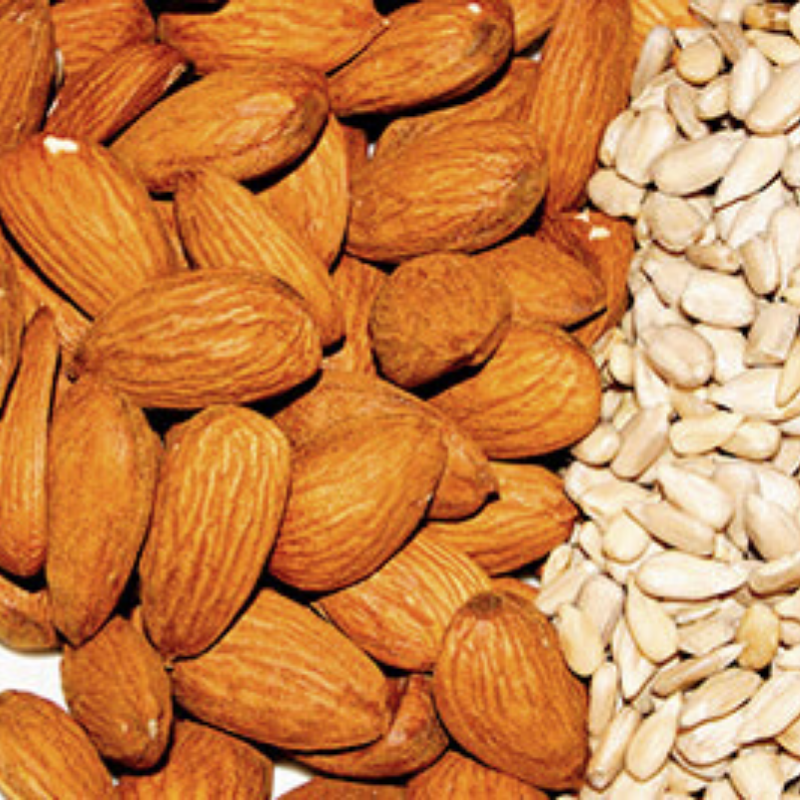 Almonds and sunflower seeds.