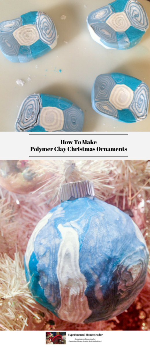 Polymer clay cut into squares followed by the finished polymer clay ornament hanging on a white Christmas tree.
