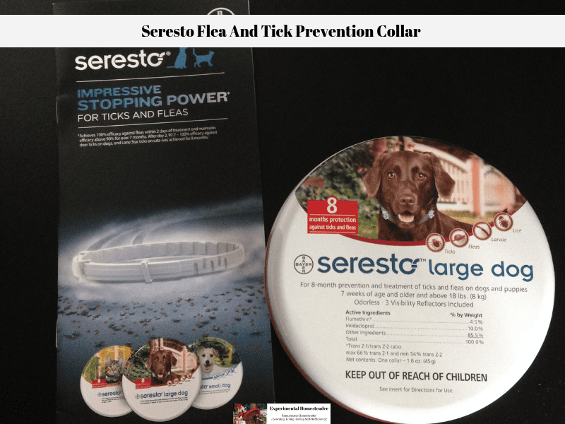 The Seresto collar case and a brochure that tells about the collar.