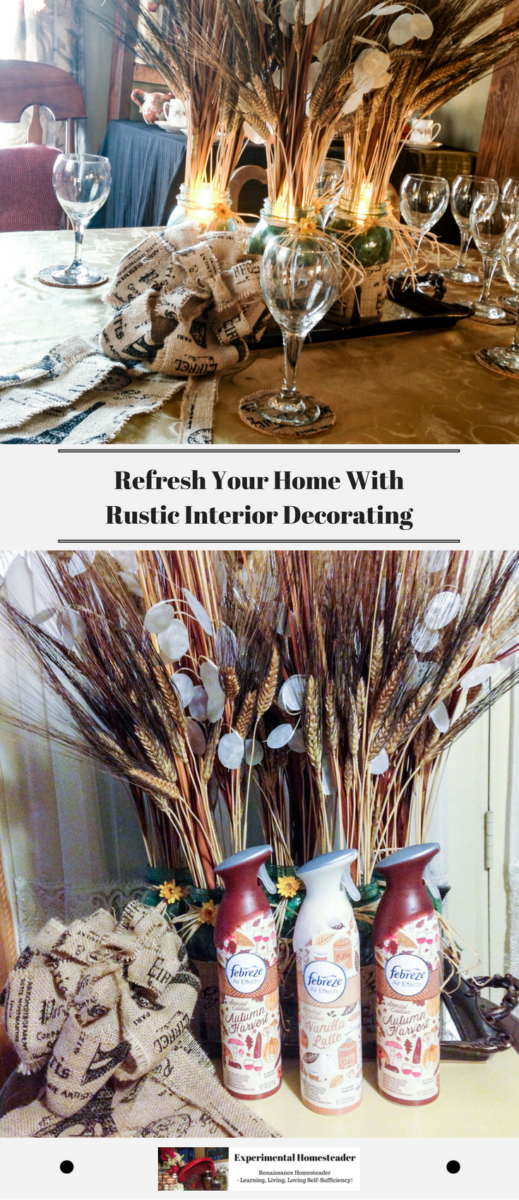 The top photo shows the table set with a rustic interior decorating burlap theme. The bottom photo shows the three Febreze Air Effects Sprays set in front of a wheat floral display with a burlap bow off to the side.