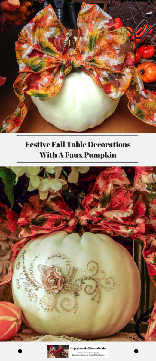 A decorated faux pumpkin.