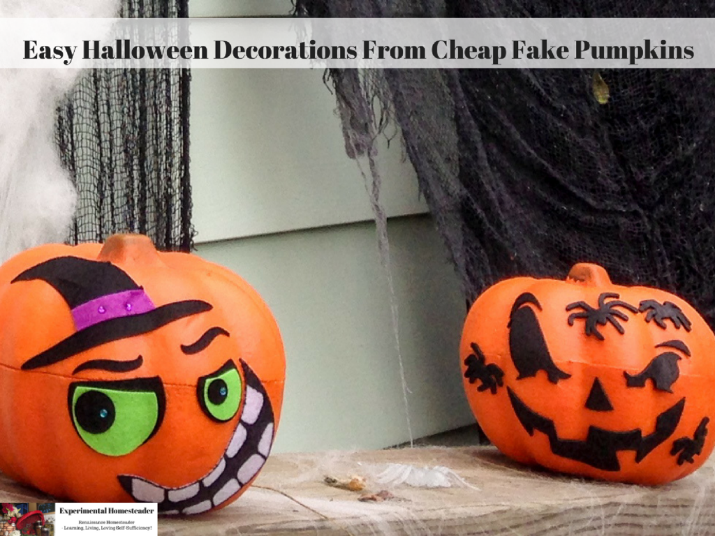 Faux pumpkins decorated with stickers.