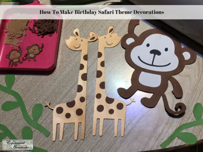 A monkey, giraffes and other items made with the Cricut.