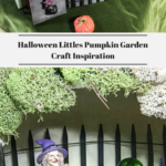 Halloween Makers Supplies in the top photo. A decorated Halloween Littles Pumpkin in the bottom photo.