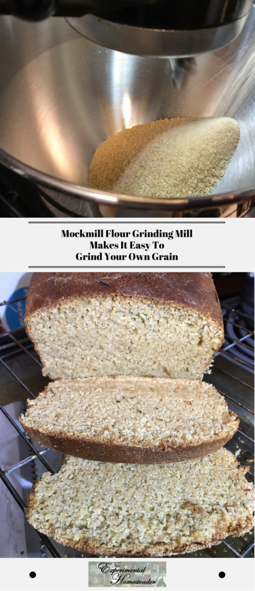 The top photo shows freshly ground wheat coming out of the Mockmill flour grinding mill. The bottom photo shows a loaf of fresh baked sliced bread.