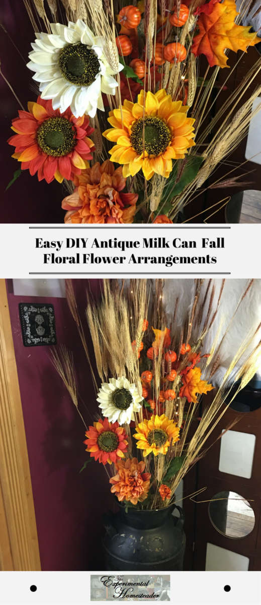 The top photo shows a closeup of the fall floral flower arrangements. The bottom photo shows the flower arrangement in an antique milk can.