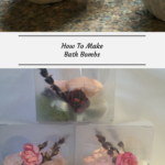 The top photo show bath bombs shaped like cupcakes. The bottom photo shows the bath bomb packaged.