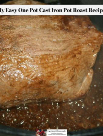 A pot roast browning in a cast iron dutch oven.