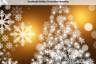 A white Christmas tree made out of snowflake images on a gold background.