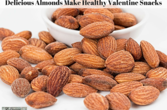 Almonds in a bowl and on a table.