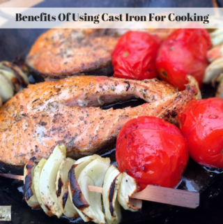 Food cooking in cast iron cookware.