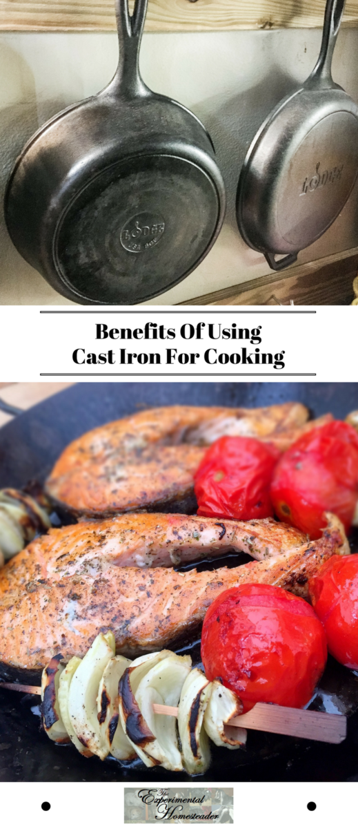 The top photo shows cast iron cookware hanging on a wall. The bottom photo shows food cooking in cast iron cookware.