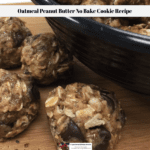This Oatmeal Peanut Butter No Bake Cookie Recipe is ready to eat with cookies in a bowl and on a countertop.