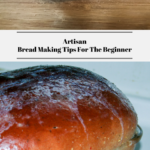 The top photo shows the bread dough resting on a butcher block. The bottom photo shows the loaf of baked bread.