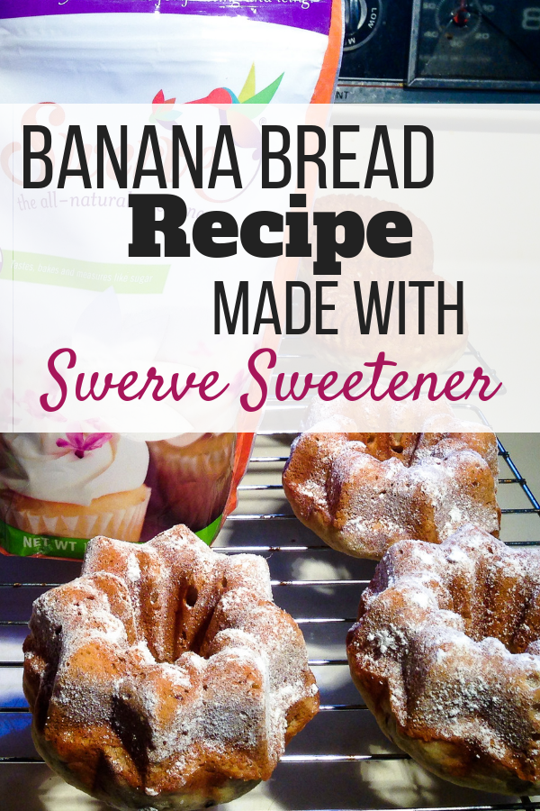 Photos of the baked banana bread along with the packages of Swerve Confectioners Sugar.