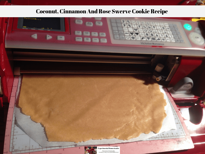 The rolled out dough for the Swerve cookie recipe being cut by the Cricut Cake.