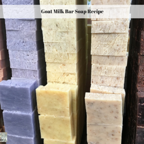 Bars of homemade soap stacked up.