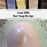 The top photo shows bars of homemade soap stacked up. The bottom photo shows a single bar of homemade goat milk soap.