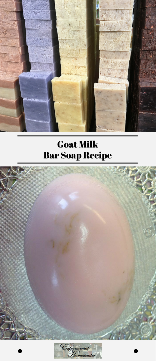 For those who have access to fresh goat milk, this homemade goat milk soap recipe is a good one for beginning soap makers to start with because it is easy to make. Plus this homemade goat milk bar soap recipe is gentle on the skin because it does not contain harsh or artificial ingredients. #barsoaprecipe #goatmilksoaprecipes #goatmilksoaprecipe #goatmilksoap #goatmilksoaprecipehomemade