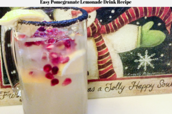 A glass filled with this easy pomegranate lemonade drink recipe.