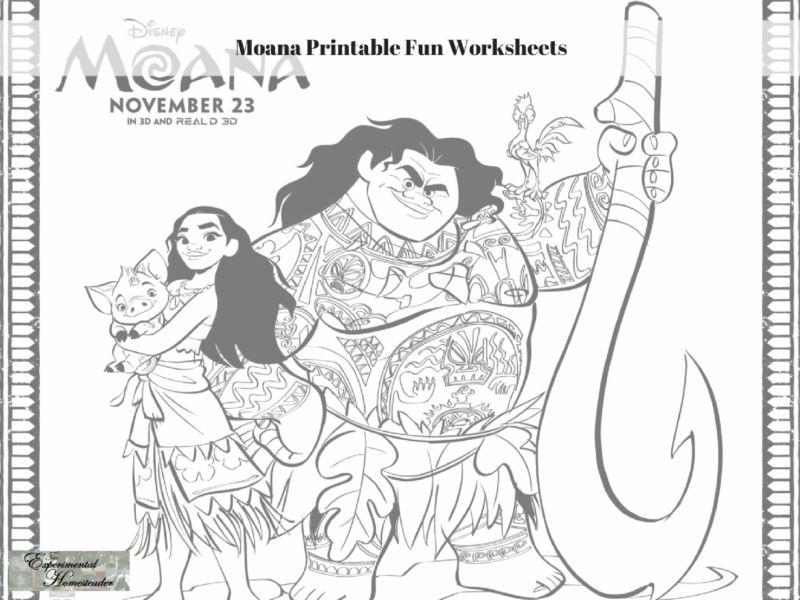graphic about Moana Sail Printable called Moana Printable Enjoyment Worksheets - Experimental Homesteader