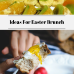 The top photos shows various fruits and the bottom photo shows someone holding a fork with an egg sandwich on it and other food on a plate.