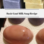 Different varieties of goat milk soap stacked and laying flat.