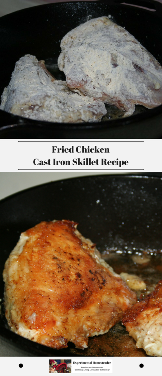 The top photo is a uncooked chicken breasts covered in seasoned flour starting to cook in a cast iron skillet. The bottom photo is of browned fried chicken breasts in a cast iron skillet.