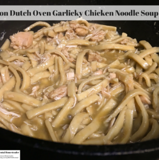 Chicken noodle soup in a cast iron dutch oven.