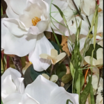 White Magnolia and white Dogwood silk flowers made into a floral arrangement.