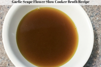Broth made with garlic scape flowers in a bowl.