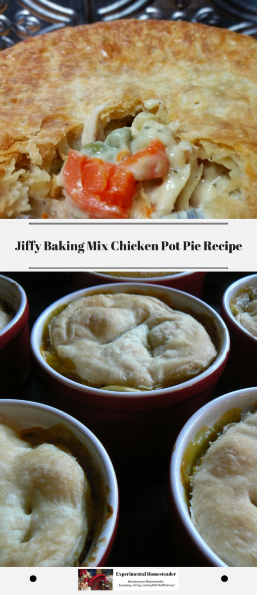 The top photo shows a chicken pot pie filing and crust. The Botton photo shows Individual chicken pot pies.