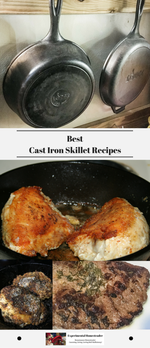 Cast iron skillets hanging on a wall and fried chicken in a cast iron skillet.