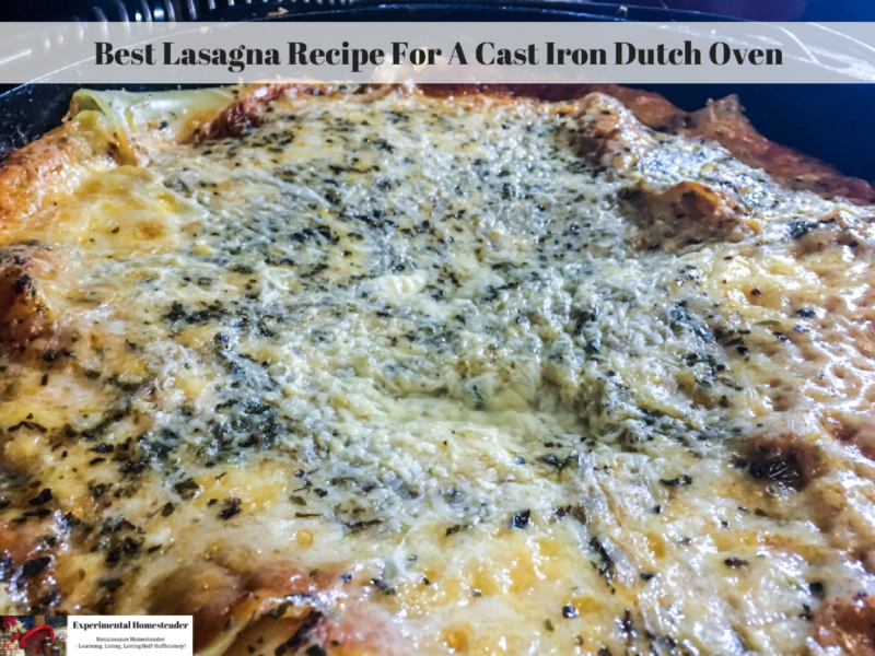 Lasagna in a cast iron dutch oven.