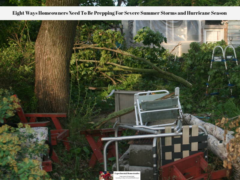 Tree branches down, lawn chairs knocked over and other damage from Hurricane Ike.
