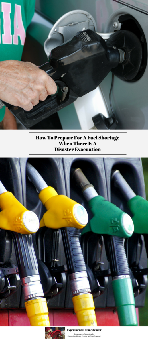 The top photo shows fuel being pumped into a vehicle. The bottom photo shows fuel pumps.