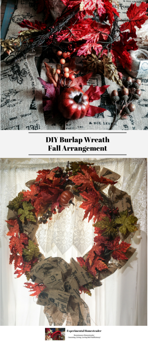 Supplies for the wreath in the top photo. A DIY Burlap Wreath Fall Arrangement hanging on the front door in the bottom photo.