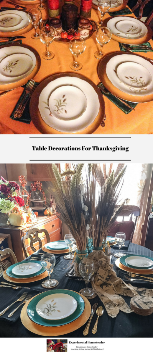 Two different Thanksgiving tables set with dishes and a centerpiece.