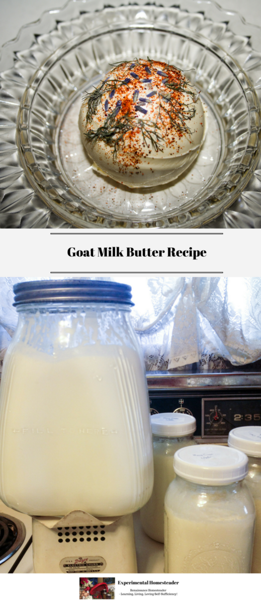 Goat milk butter decorated with paprika and dill weed in a crystal butter dish along with cream in an antique butter churn and in Ball jars.