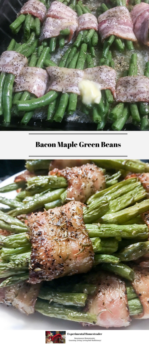 The top photo is bacon wrapped maple green beans, wrapped with a dash of butter on top ready to go into the oven to bake. The bottom photo is bacon maple green beans stacked on a white plate.
