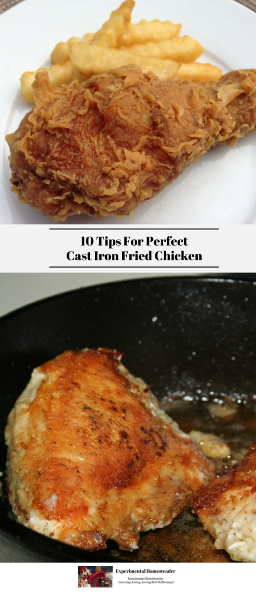 The top photo is a double fried chicken wing on a white plate with French fries. The bottom photo is nicely browned chicken breasts frying in a cast iron skillet.