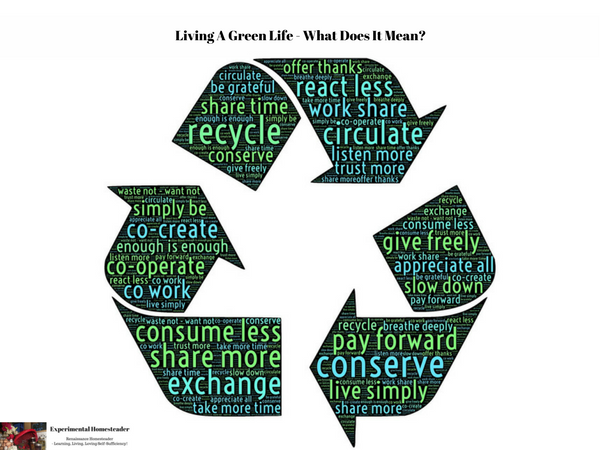 A recycle symbol with words in it on how to live a greener life.