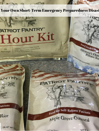 A photo of the contents of the 72-hour emergency survival food kit from My Patriot Pantry.