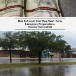 The top photo is a photo of the contents of the 72-hour emergency survival food kit from My Patriot Pantry. The bottom photo is of a flooded street in Houston, Texas.