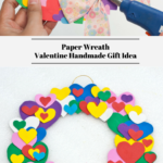 The top photo is showing a Valentines Day wreath being put together with hot glue. The bottom photo shows a completed paper wreath for Valentines Day!