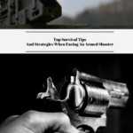 The top photo is a gun resting on a stand. The bottom photo shows someone holding a handgun.