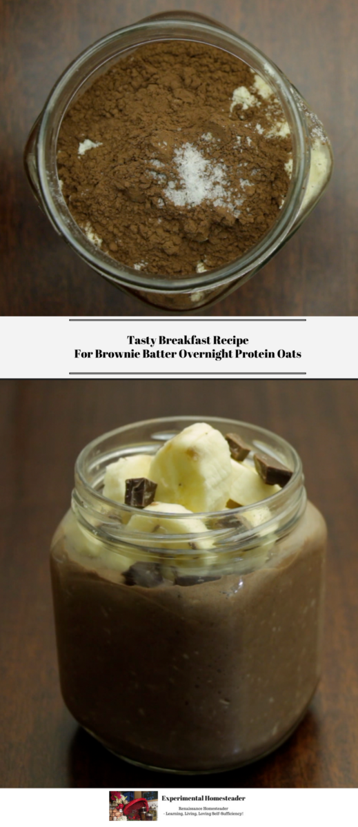 The top photo shows the ingredients in the jar before they are mixed together. The bottom photo shows the ready to eat Brownie Batter Overnight Protein Oats topped with bananas and dark chocolate chunks.