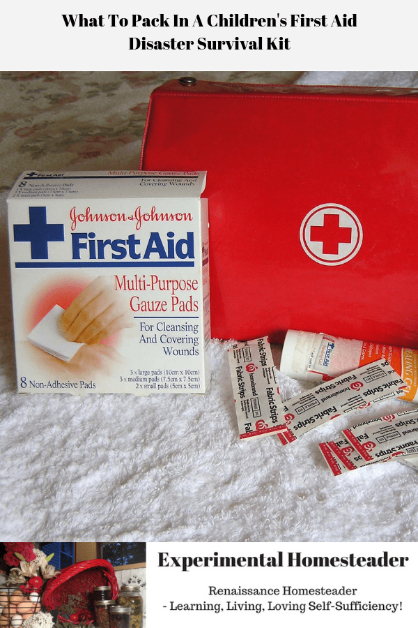 A children's first aid disaster survival kit unpacked.