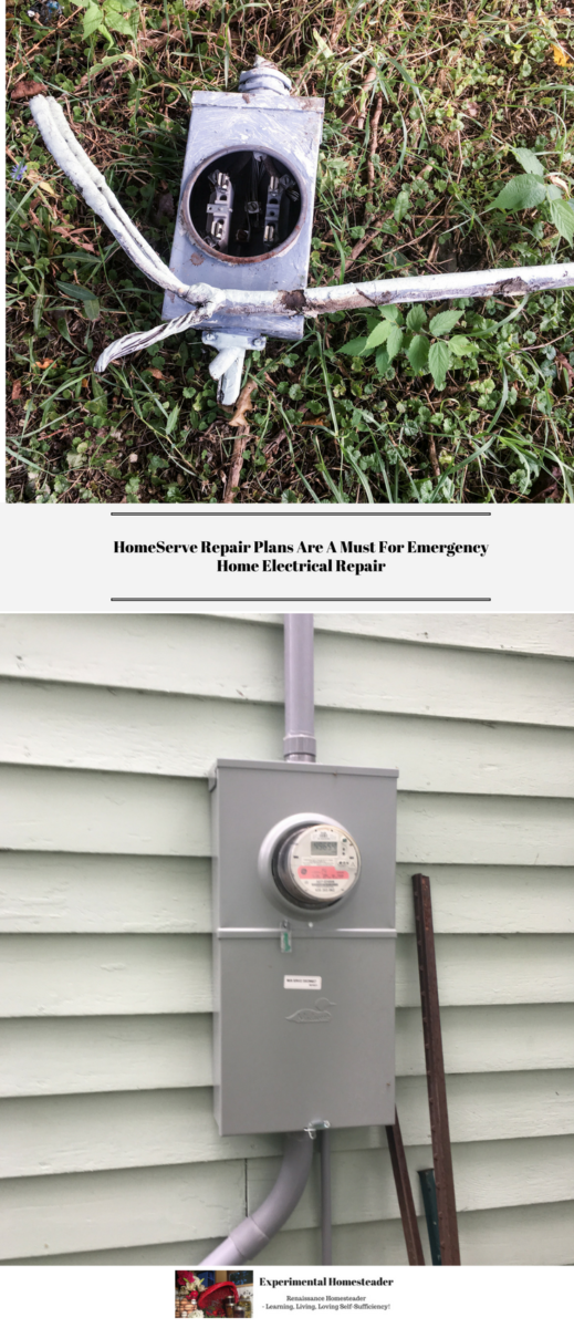 The top photo is the old meter box laying in the grass. The bottom photo is the new meter box and the new wiring on the outside of the house.